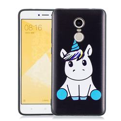 Cute Baby Unicorn 3D Embossed Relief Black Soft Phone Back Cover for Xiaomi Redmi Note 4 Red Mi Note4