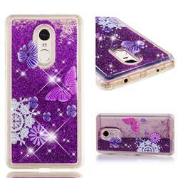 Purple Flower Butterfly Dynamic Liquid Glitter Quicksand Soft TPU Case for Xiaomi Redmi Note 4 Red Mi Note4
