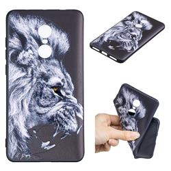Lion 3D Embossed Relief Black TPU Cell Phone Back Cover for Xiaomi Redmi Note 4 Red Mi Note4