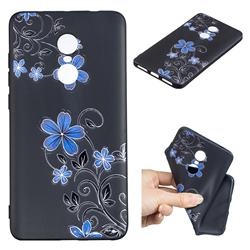 Little Blue Flowers 3D Embossed Relief Black TPU Cell Phone Back Cover for Xiaomi Redmi Note 4 Red Mi Note4