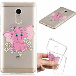 Tiny Pink Elephant Clear Varnish Soft Phone Back Cover for Xiaomi Redmi Note 4 Red Mi Note4
