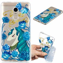 Blue Flower Unicorn Clear Varnish Soft Phone Back Cover for Xiaomi Redmi Note 4 Red Mi Note4