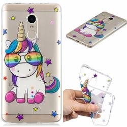 Glasses Unicorn Clear Varnish Soft Phone Back Cover for Xiaomi Redmi Note 4 Red Mi Note4
