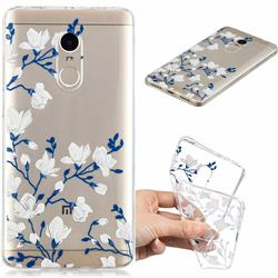 Magnolia Flower Clear Varnish Soft Phone Back Cover for Xiaomi Redmi Note 4 Red Mi Note4