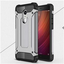 King Kong Armor Premium Shockproof Dual Layer Rugged Hard Cover for Xiaomi Redmi Note 4 Red Mi Note4 - Silver Grey