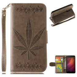 Intricate Embossing Maple Leather Wallet Case for Xiaomi Redmi Note 4 Red Mi Note4 - Gray