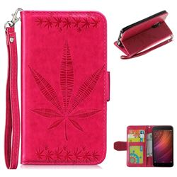 Intricate Embossing Maple Leather Wallet Case for Xiaomi Redmi Note 4 Red Mi Note4 - Rose