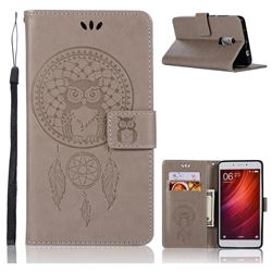 Intricate Embossing Owl Campanula Leather Wallet Case for Xiaomi Redmi Note 4 Red Mi Note4 - Grey