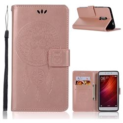 Intricate Embossing Owl Campanula Leather Wallet Case for Xiaomi Redmi Note 4 Red Mi Note4 - Rose Gold