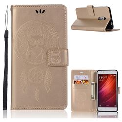 Intricate Embossing Owl Campanula Leather Wallet Case for Xiaomi Redmi Note 4 Red Mi Note4 - Champagne