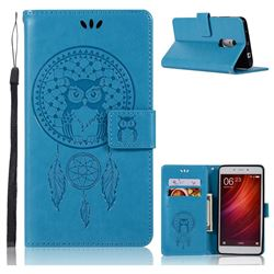 Intricate Embossing Owl Campanula Leather Wallet Case for Xiaomi Redmi Note 4 Red Mi Note4 - Blue