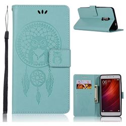 Intricate Embossing Owl Campanula Leather Wallet Case for Xiaomi Redmi Note 4 Red Mi Note4 - Green