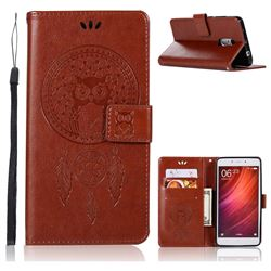 Intricate Embossing Owl Campanula Leather Wallet Case for Xiaomi Redmi Note 4 Red Mi Note4 - Brown