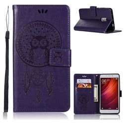 Intricate Embossing Owl Campanula Leather Wallet Case for Xiaomi Redmi Note 4 Red Mi Note4 - Purple