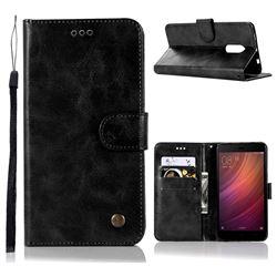 Luxury Retro Leather Wallet Case for Xiaomi Redmi Note 4 Red Mi Note4 - Black