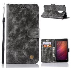 Luxury Retro Leather Wallet Case for Xiaomi Redmi Note 4 Red Mi Note4 - Gray