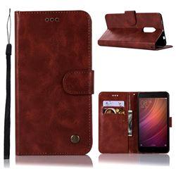 Luxury Retro Leather Wallet Case for Xiaomi Redmi Note 4 Red Mi Note4 - Wine Red