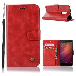 Luxury Retro Leather Wallet Case for Xiaomi Redmi Note 4 Red Mi Note4 - Red
