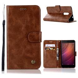 Luxury Retro Leather Wallet Case for Xiaomi Redmi Note 4 Red Mi Note4 - Brown