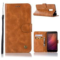 Luxury Retro Leather Wallet Case for Xiaomi Redmi Note 4 Red Mi Note4 - Golden