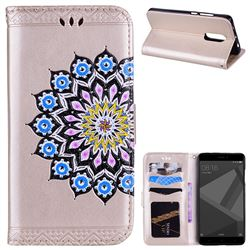 Datura Flowers Flash Powder Leather Wallet Holster Case for Xiaomi Redmi Note 4 Red Mi Note4 - Golden