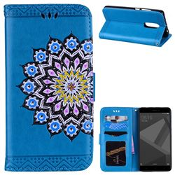 Datura Flowers Flash Powder Leather Wallet Holster Case for Xiaomi Redmi Note 4 Red Mi Note4 - Blue