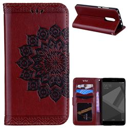 Datura Flowers Flash Powder Leather Wallet Holster Case for Xiaomi Redmi Note 4 Red Mi Note4 - Brown