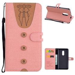 Ladies Bow Clothes Pattern Leather Wallet Phone Case for Xiaomi Redmi Note 4 Red Mi Note4 - Pink