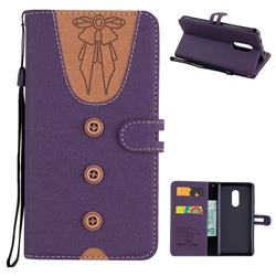 Ladies Bow Clothes Pattern Leather Wallet Phone Case for Xiaomi Redmi Note 4 Red Mi Note4 - Purple