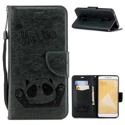 Embossing Hello Panda Leather Wallet Phone Case for Xiaomi Redmi Note 4 Red Mi Note4 - Seagreen