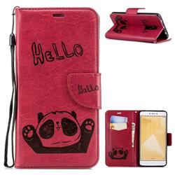 Embossing Hello Panda Leather Wallet Phone Case for Xiaomi Redmi Note 4 Red Mi Note4 - Red