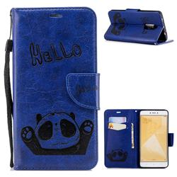 Embossing Hello Panda Leather Wallet Phone Case for Xiaomi Redmi Note 4 Red Mi Note4 - Blue