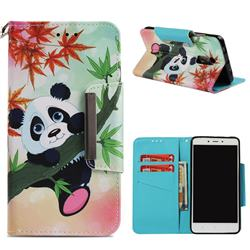 Bamboo Panda Big Metal Buckle PU Leather Wallet Phone Case for Xiaomi Redmi Note 4 Red Mi Note4