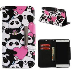 Heart Panda Big Metal Buckle PU Leather Wallet Phone Case for Xiaomi Redmi Note 4 Red Mi Note4