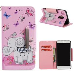 Butterfly Jumbo Big Metal Buckle PU Leather Wallet Phone Case for Xiaomi Redmi Note 4 Red Mi Note4