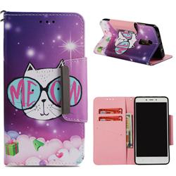 Glasses Cat Big Metal Buckle PU Leather Wallet Phone Case for Xiaomi Redmi Note 4 Red Mi Note4