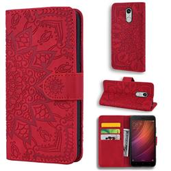Retro Embossing Mandala Flower Leather Wallet Case for Xiaomi Redmi Note 4 Red Mi Note4 - Red