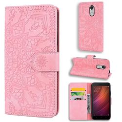 Retro Embossing Mandala Flower Leather Wallet Case for Xiaomi Redmi Note 4 Red Mi Note4 - Pink