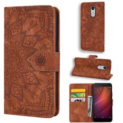 Retro Embossing Mandala Flower Leather Wallet Case for Xiaomi Redmi Note 4 Red Mi Note4 - Brown