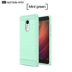 Luxury Carbon Fiber Brushed Wire Drawing Silicone TPU Back Cover for Xiaomi Redmi Note 4X (Mint Green)
