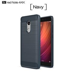 Luxury Carbon Fiber Brushed Wire Drawing Silicone TPU Back Cover for Xiaomi Redmi Note 4X (Navy)