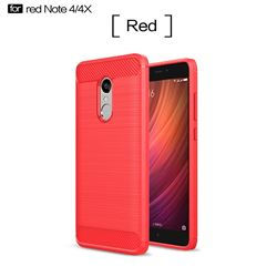 Luxury Carbon Fiber Brushed Wire Drawing Silicone TPU Back Cover for Xiaomi Redmi Note 4X (Red)