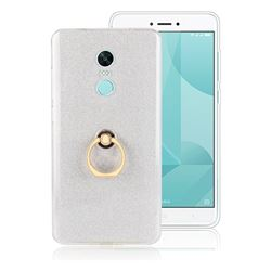 Luxury Soft TPU Glitter Back Ring Cover with 360 Rotate Finger Holder Buckle for Xiaomi Redmi Note 4X - White