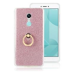 Luxury Soft TPU Glitter Back Ring Cover with 360 Rotate Finger Holder Buckle for Xiaomi Redmi Note 4X - Pink