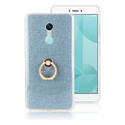 Luxury Soft TPU Glitter Back Ring Cover with 360 Rotate Finger Holder Buckle for Xiaomi Redmi Note 4X - Blue