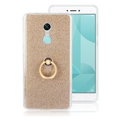Luxury Soft TPU Glitter Back Ring Cover with 360 Rotate Finger Holder Buckle for Xiaomi Redmi Note 4X - Golden