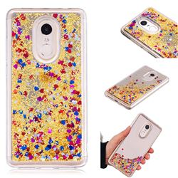 Glitter Sand Mirror Quicksand Dynamic Liquid Star TPU Case for Xiaomi Redmi Note 4X - Yellow