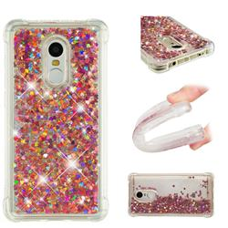 Dynamic Liquid Glitter Sand Quicksand TPU Case for Xiaomi Redmi Note 4X - Rose Gold Love Heart
