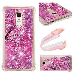 Pink Cherry Blossom Dynamic Liquid Glitter Sand Quicksand Star TPU Case for Xiaomi Redmi Note 4X
