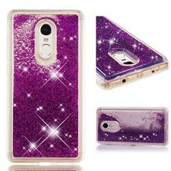 Dynamic Liquid Glitter Quicksand Sequins TPU Phone Case for Xiaomi Redmi Note 4X - Purple